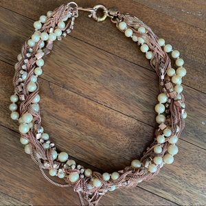 Jcrew Pearl and Rose gold necklace